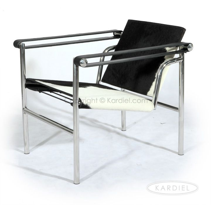 Le Corbusier Style LC1 Basculant Sling Chair, Black U0026 White Cowhide |