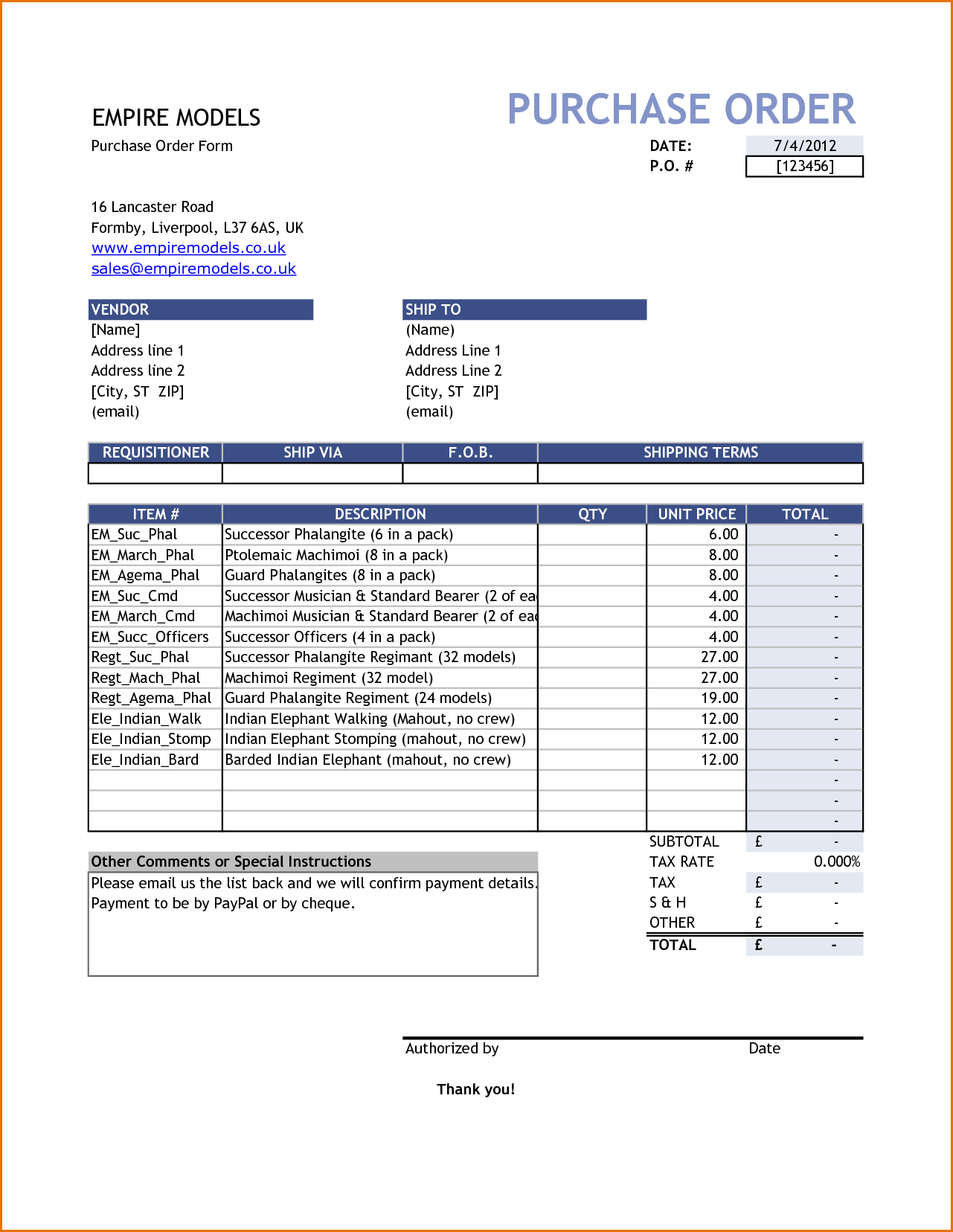 purchase order template  free purchase order template