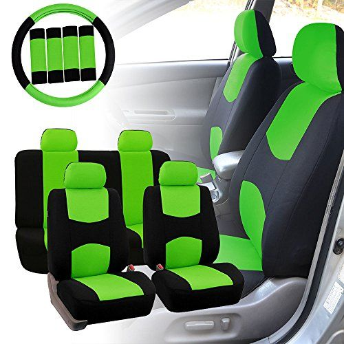 Fh Group Fh Fb050114 Full Set Flat Cloth Car Seat Covers W Fh2033 Steering Wheel Cover And Seat Belt Pads Green Black Color Fit Most Car Truck Suv Or V