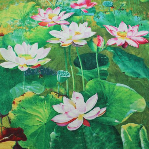 Floral Fabric Chinese Painting Lotus