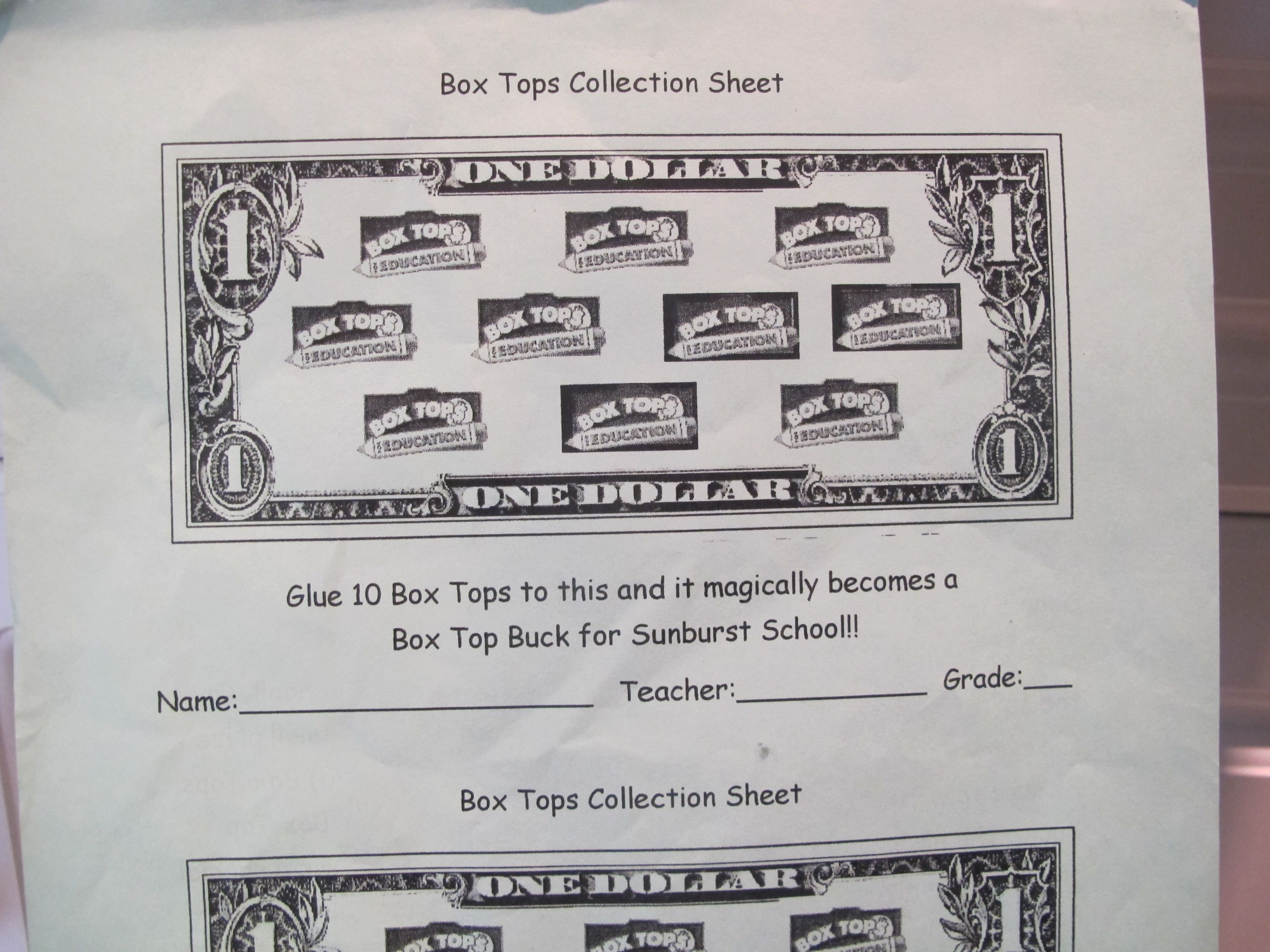 Our Favorite Box Top For Education Collection Sheet For