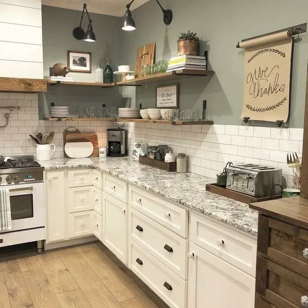 ✔ 86 pretty farmhouse kitchen makeover design ideas on a budget 65 #farmhousekitchencolors