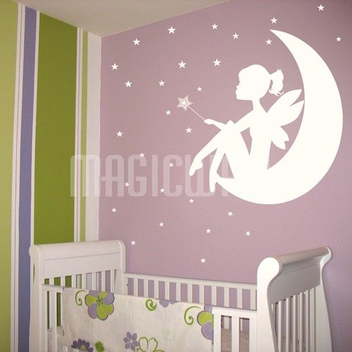 Delicieux Fairy Little Girl On The Moon   Wand And Stars   Wall Decals