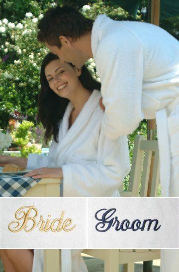 Amberley Bride Groom Luxury Bathrobes With Personalised Embroidery Bride Bride Groom Groom