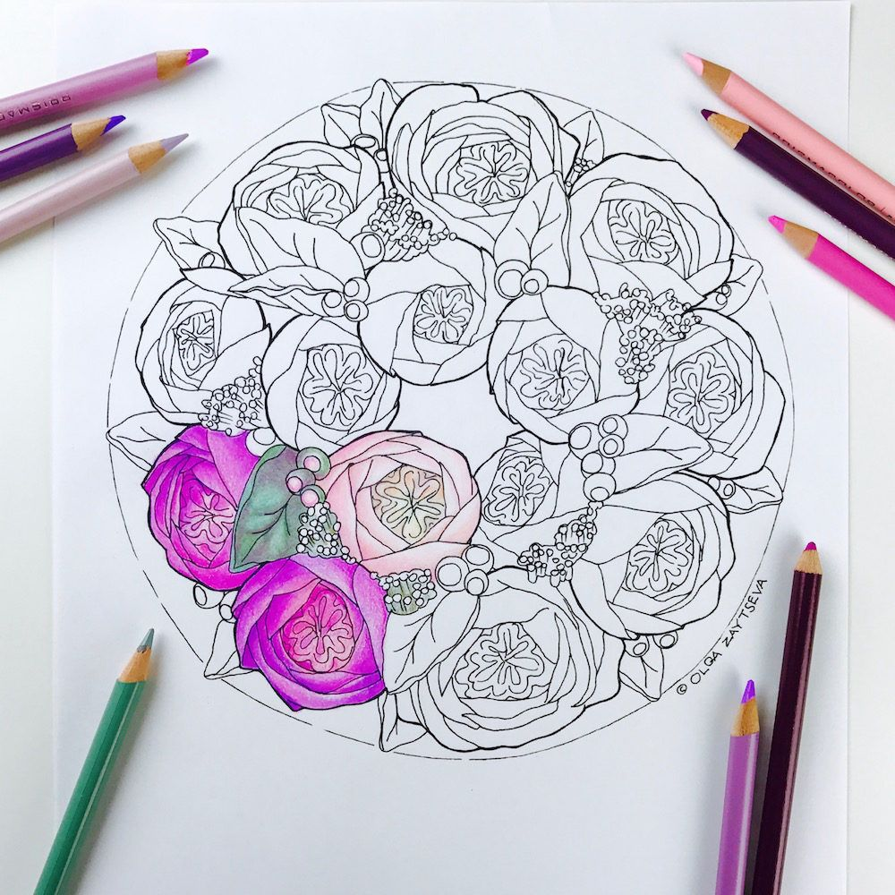 english roses flower wreath cake coloring page for adults hand