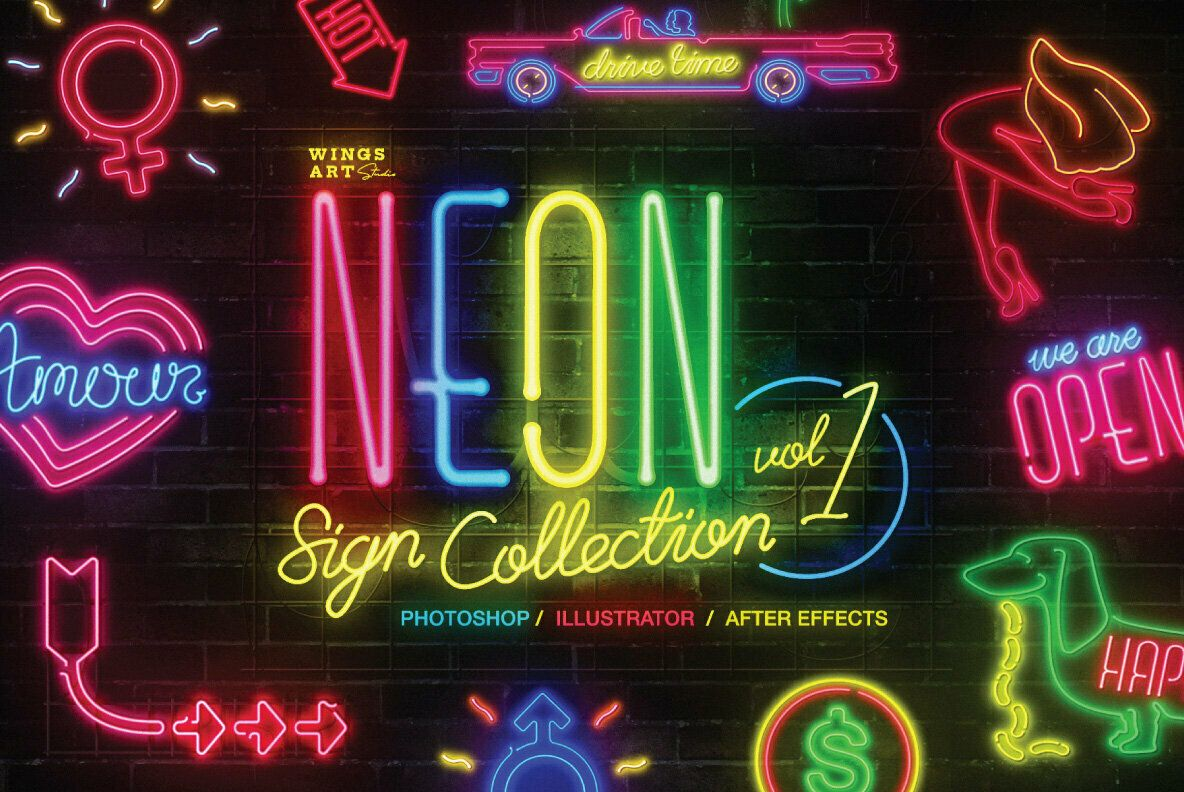 Neon Sign Collection Volume One Graphics834 Youworkforthem In 2020 Neon Signs Neon Vintage Neon Signs