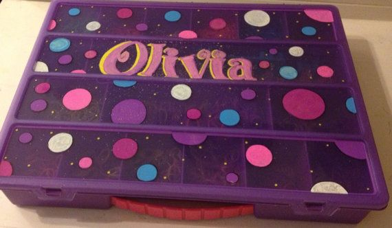 Personalized rainbow loom storage box by DJCcreations2013 on Etsy, $26.50