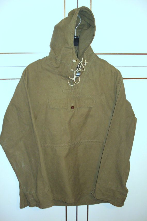 8799fb0ea9b Vintage Green Men s Canvas Anorak with Hood  Front Pocket SizeS-M ...