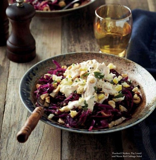 Poached chicken, puy lentil and warm red cabbage salad
