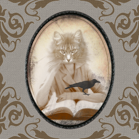 Eudora Kitty fabric by curlycue on Spoonflower - custom fabric