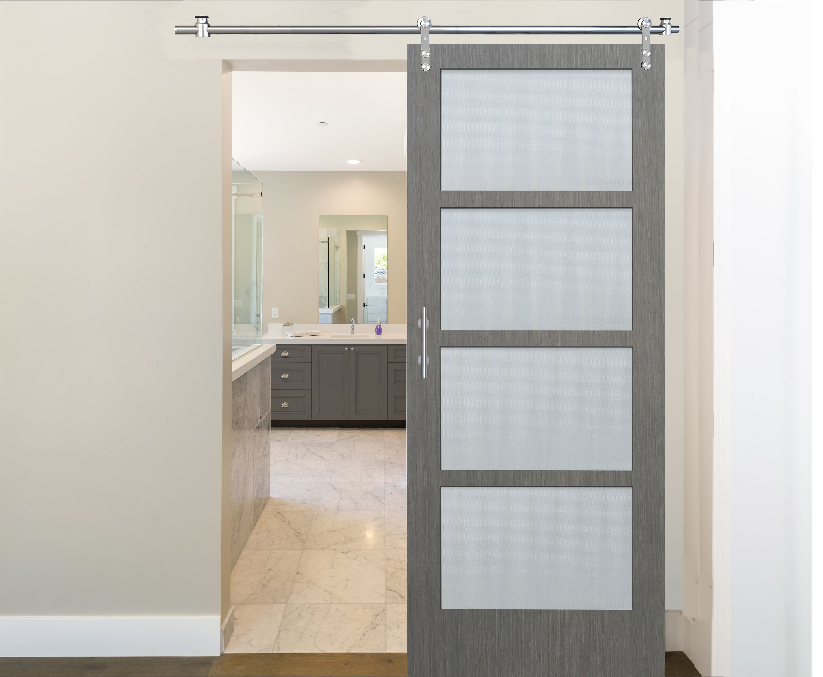 Pacific Entries 36 In X 84 In 4 Lite Driftwood Clear Coat Interior Sliding Barn Door With Round Stainless Steel Hardware Kit Cdr2044 3684 20 The Home Depot Barn Door Indoor Barn Doors Interior