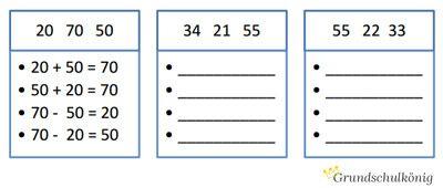 Kostenlose Arbeitsblätter mit Tauschaufgaben und Umkehraufgaben für ...