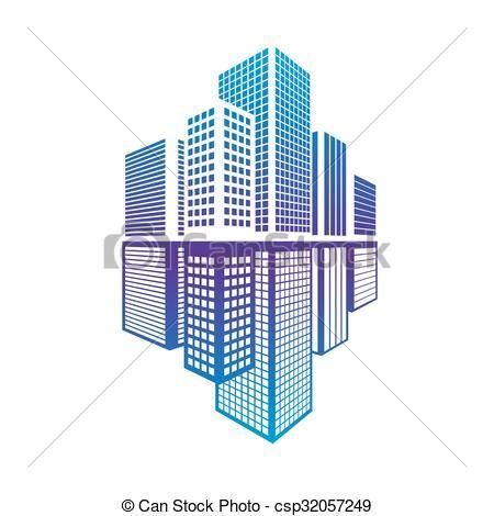 Bien-aimé Vecteur - bâtiment, icône, bureau - Banque d'illustrations  FJ76