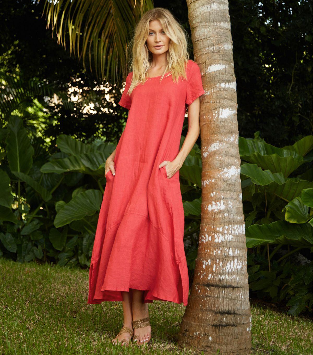 0a522b9d7d2 Annie Linen Dress Red Coral
