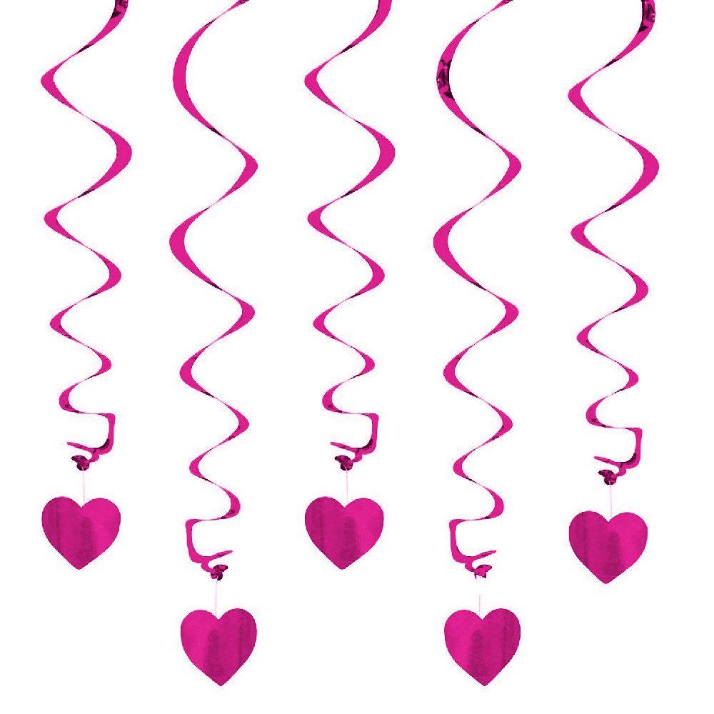 5 Girlande Spiral Deckenhänger mit Herz - pink | Girlanden ...