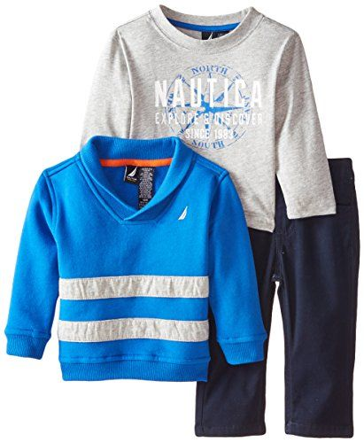 Nautica Baby Boys 3 Piece Fleece Long Sleeve Tee Denim Pant Set Blue 12 Months *** Learn more by visiting the image link.