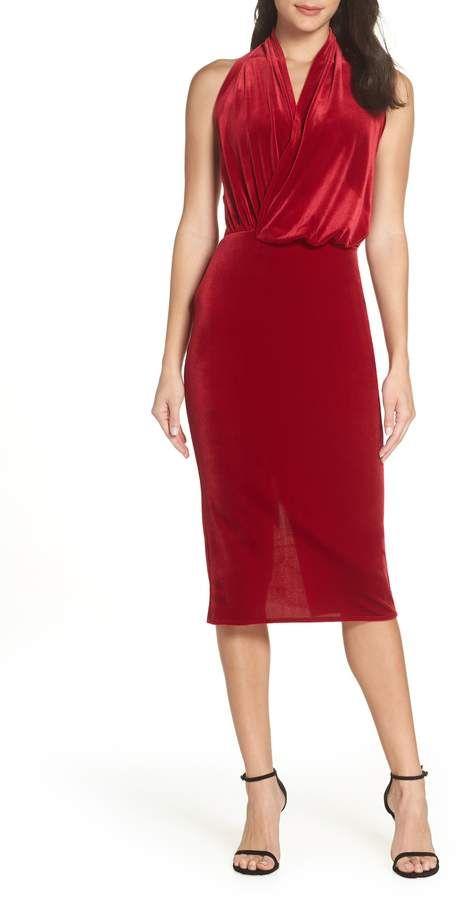 Christmas Dinner Dresses 2019.Katie May Asymmetrical Drape Surplice Halter Cocktail Dress