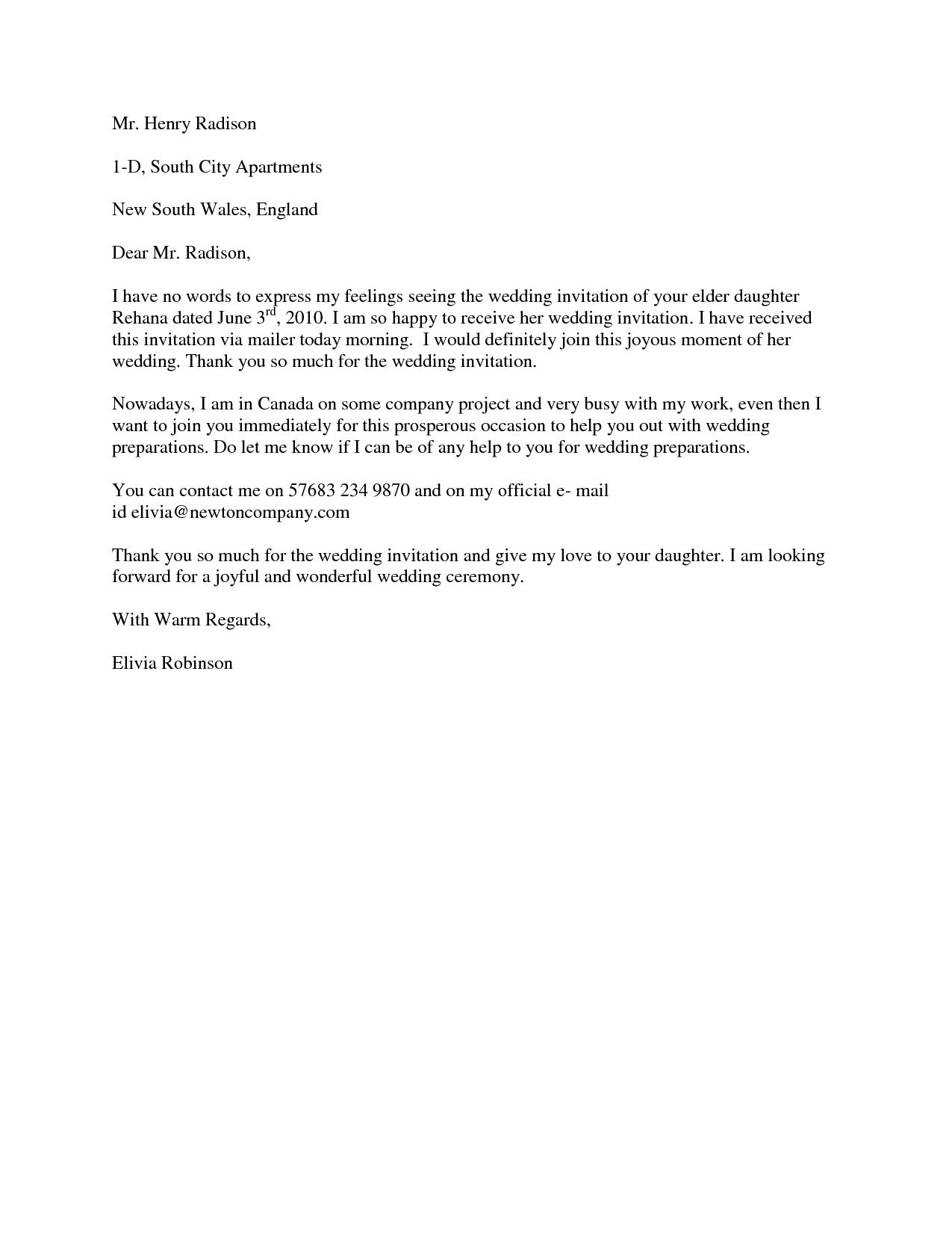 formal wedding acceptance letter in