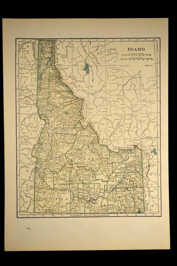 Idaho Map Idaho Vintage 1930s Original Detailed