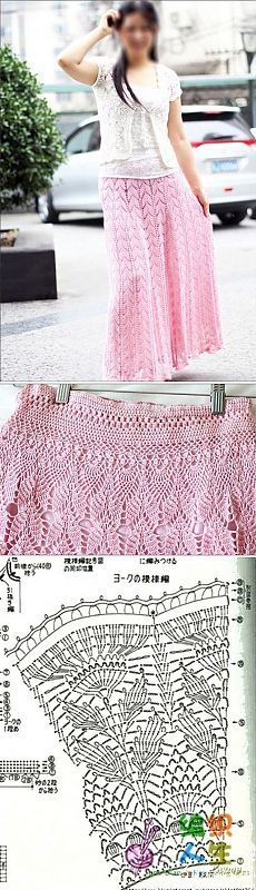 9173ead095c Длинная юбка крючком схема. Вязаные юбки схемы