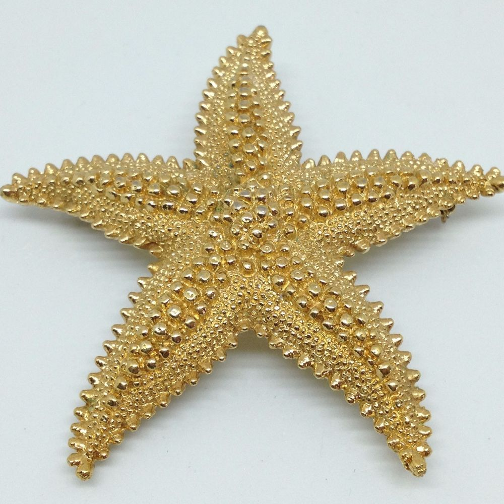 9385462de Signed MONET Vintage STARFISH BROOCH PIN Gold Tone Ocean Animal Costume  Jewelry #Monet #ebay #vintagebrooch #vintagejewelry