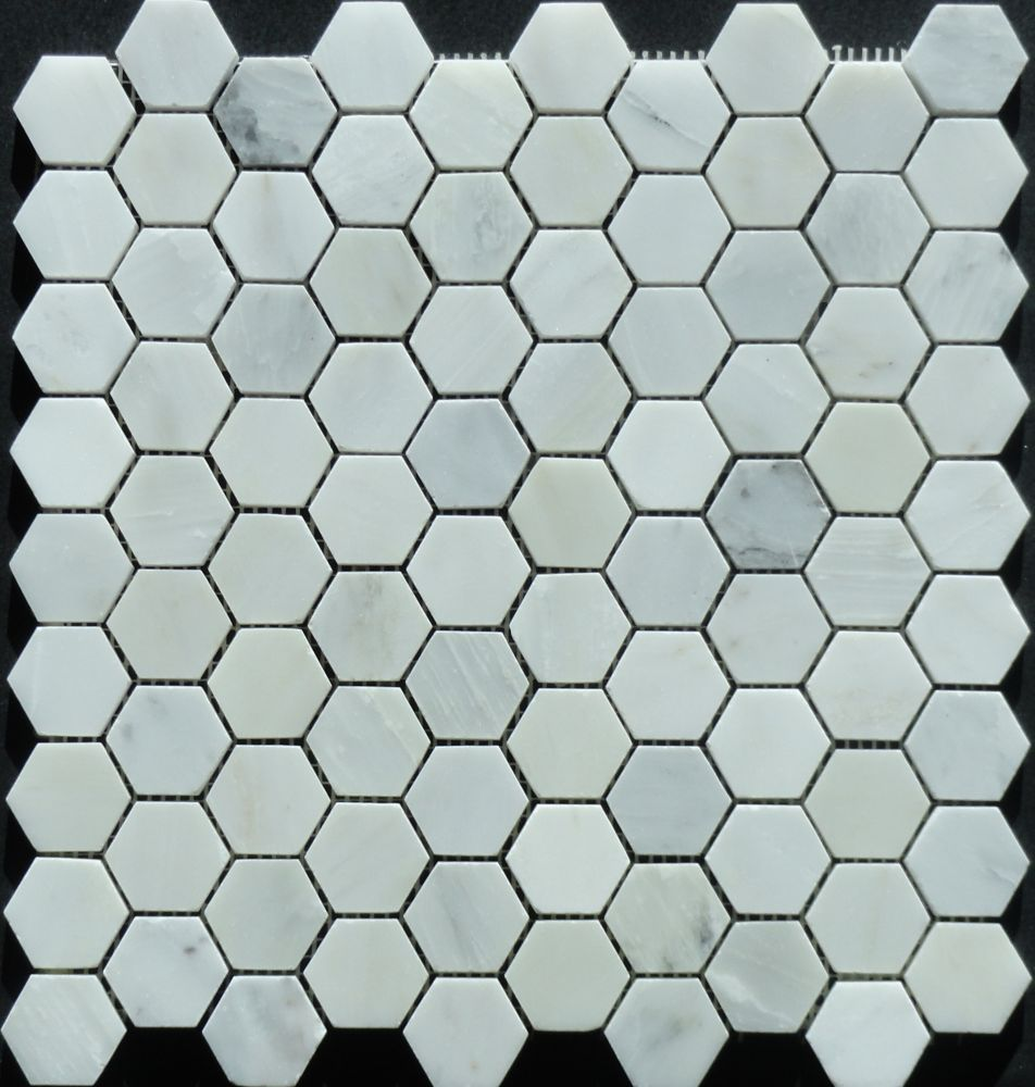 Novecento 1 1 4x1 1 4 White Hexagon Mosaic The Home Depot Canada Hexagonal Mosaic Mosaic House Hexagon Mosaic Tile