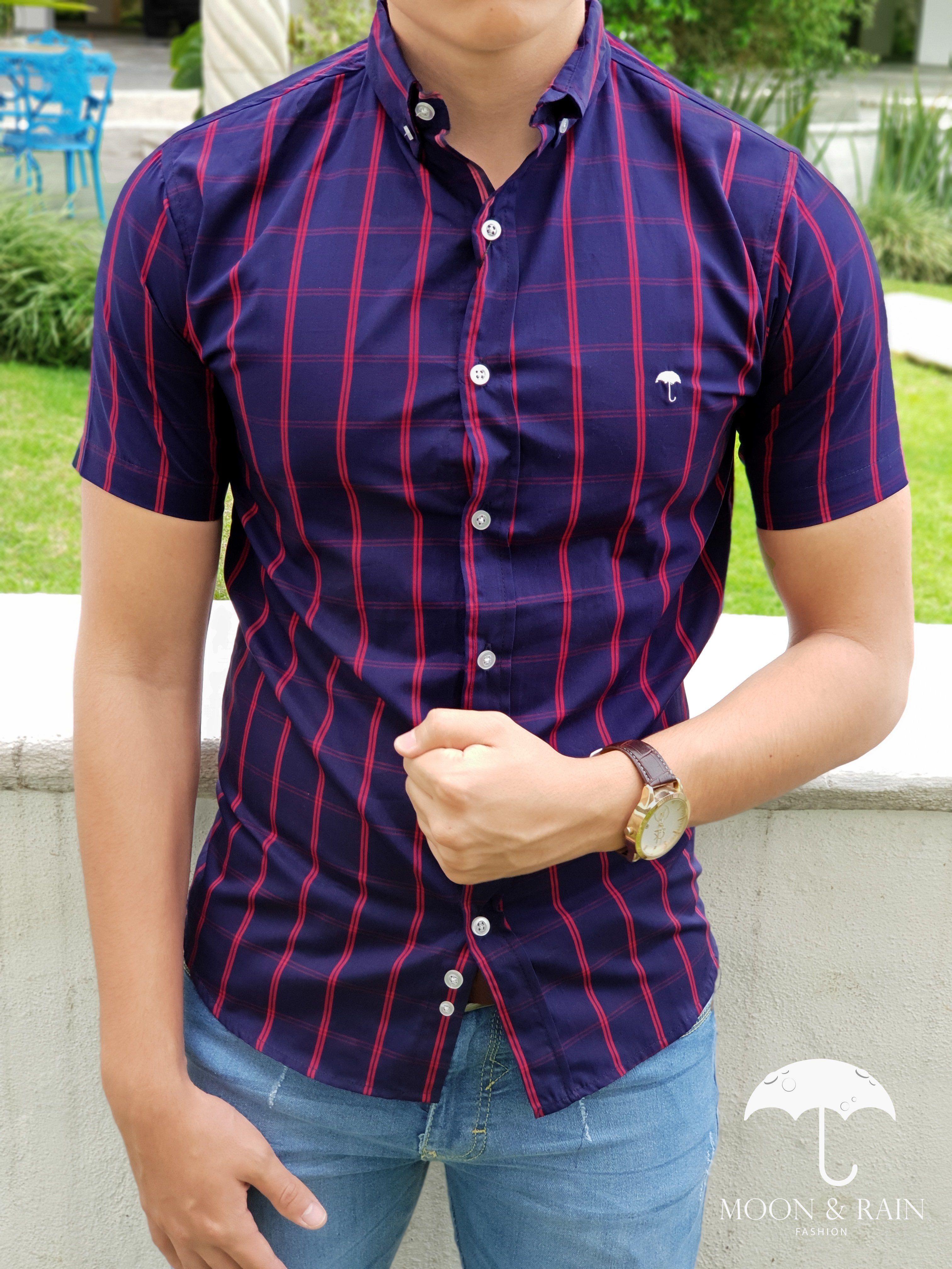 Outfit para hombre  camisa de cuadros marino y rojo en manga corta ... a4231e74a80ce