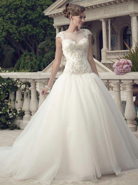 Illusion necklines are still a big trend for 2014! Casablanca Wedding Dresses - Style 2147 #2014casablanca #weddingdresses