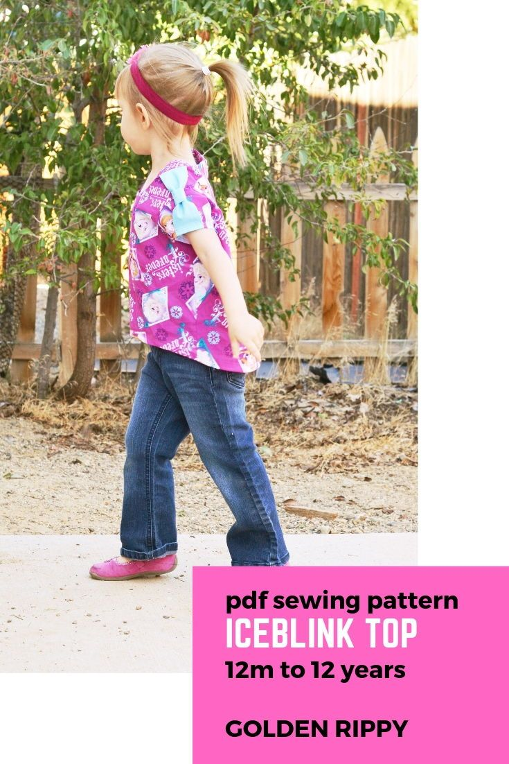 Here's the Iceblink top sewing pattern. This girl's pdf sewing pattern is professionally drafted with short sleeves and bow epoulettes.  It's an easy beginner project to try out sewing wovens and exposed back  zipper. Great pattern to showcase your favorite fabric with big prints.  The Iceblink is a hi-low top. It's a quick sew with only a few pattern pieces to assemble. Sizes 12 months-12 years  #sewingpattern #girls #top #sewing #pdf #goldenrippy #patterns #hi-low #easy