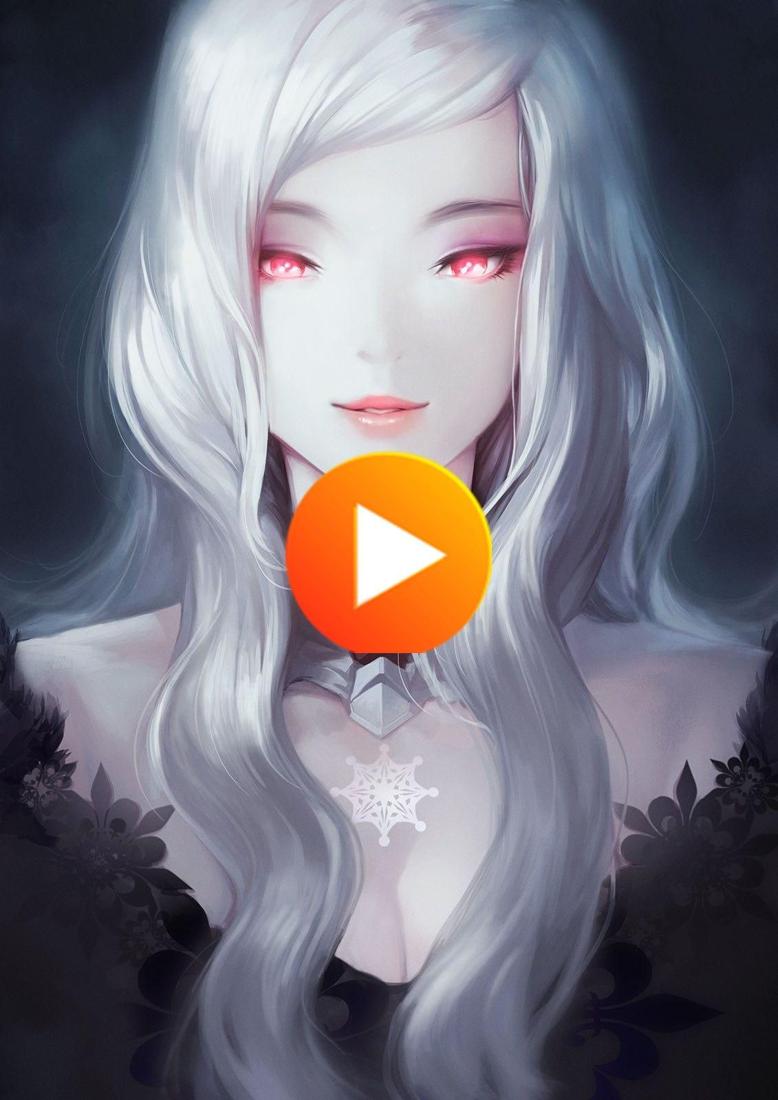 720p Wallpaper Hdwallpaper Desktop灰色の髪の女性アニメキャラクター赤い目白髪縦長の表示 In 2020 Anime Female Anime Anime Characters