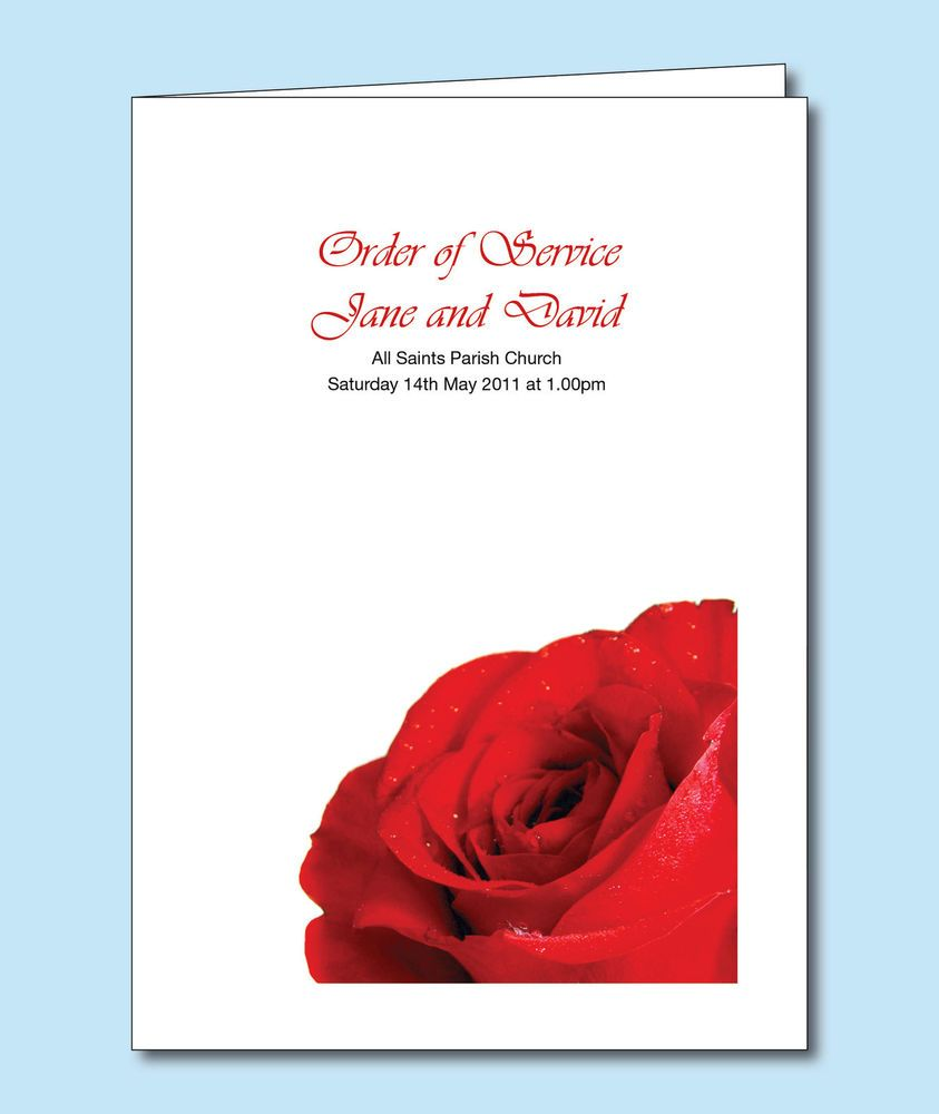 Personalised Wedding Order of Service/Day Cover or Booklet. Red Rose ...