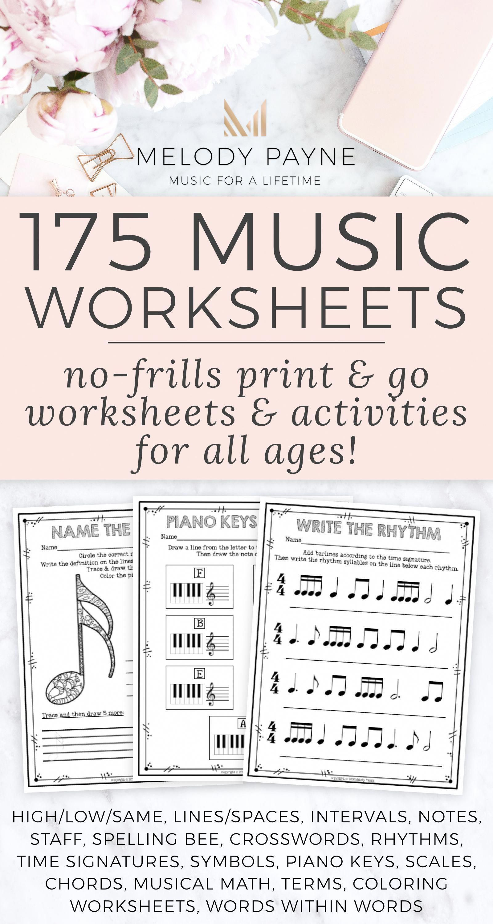 175 Printable No Frills Music Worksheets For Elementary
