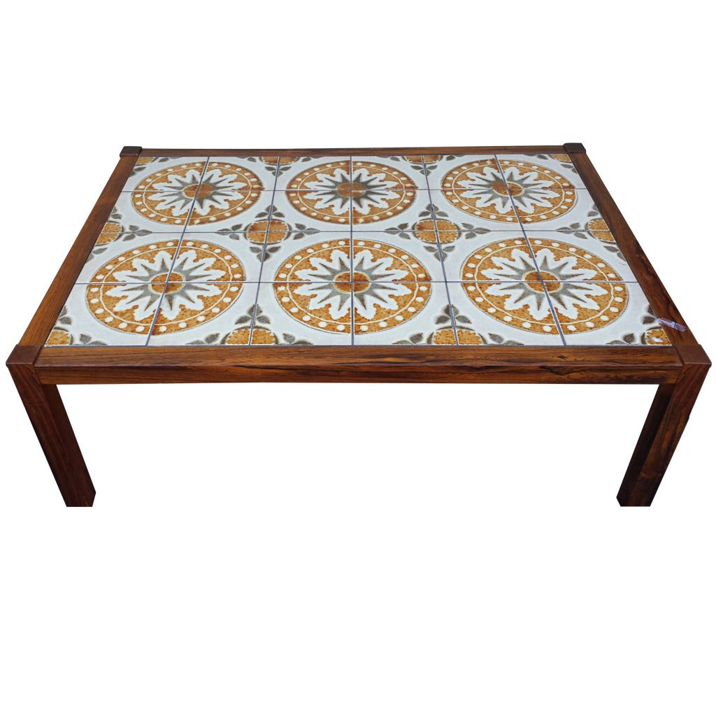 Coffee Table, Mid Century Tile-Top Coffee Table | From a unique collection of antique and modern coffee and cocktail tables at https://www.1stdibs.com/furniture/tables/coffee-tables-cocktail-tables/