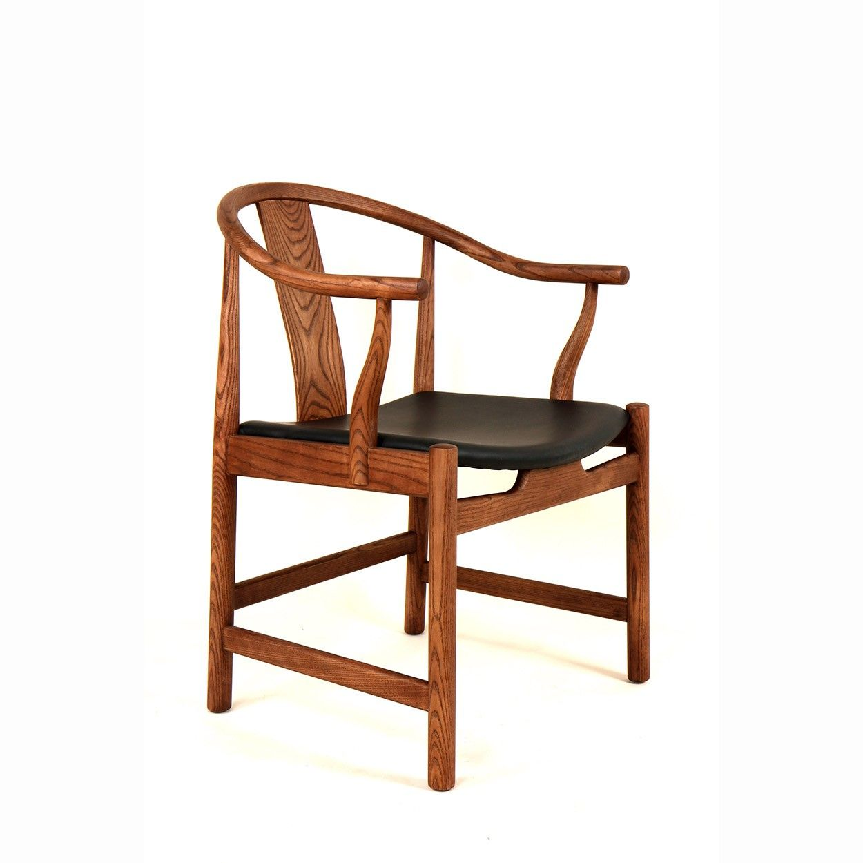 PP56 China Chair with Black Leather Seat
