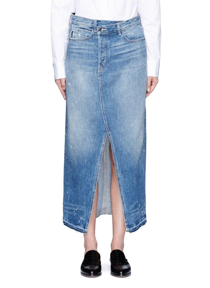 Helmut Lang Remark Splatter Paint Print Denim Skirt Modesens Printed Denim Vintage Style Skirts Denim Skirt