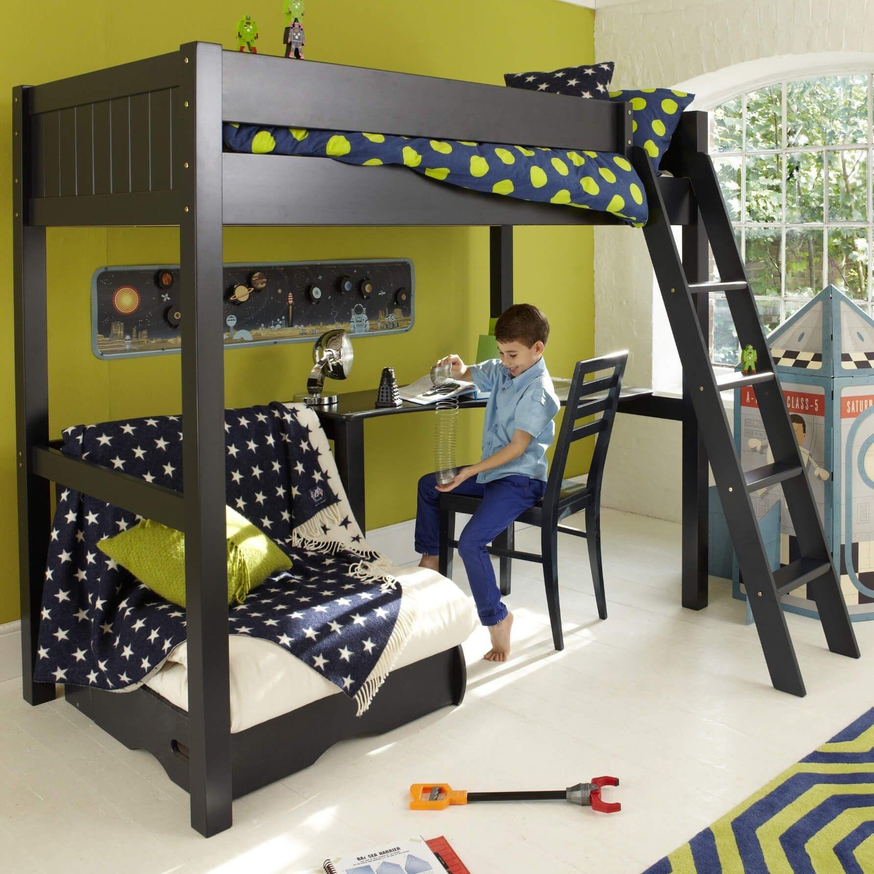 Warwick High Sleeper Bed With Futon - Prussian Blue | Noah ...