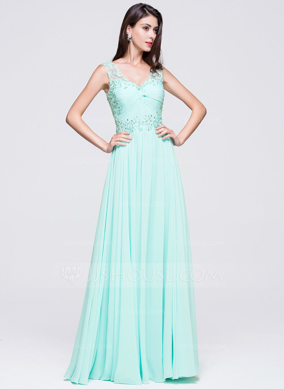 A-Line/Princess V-neck Floor-Length Chiffon Prom Dress With Beading ...