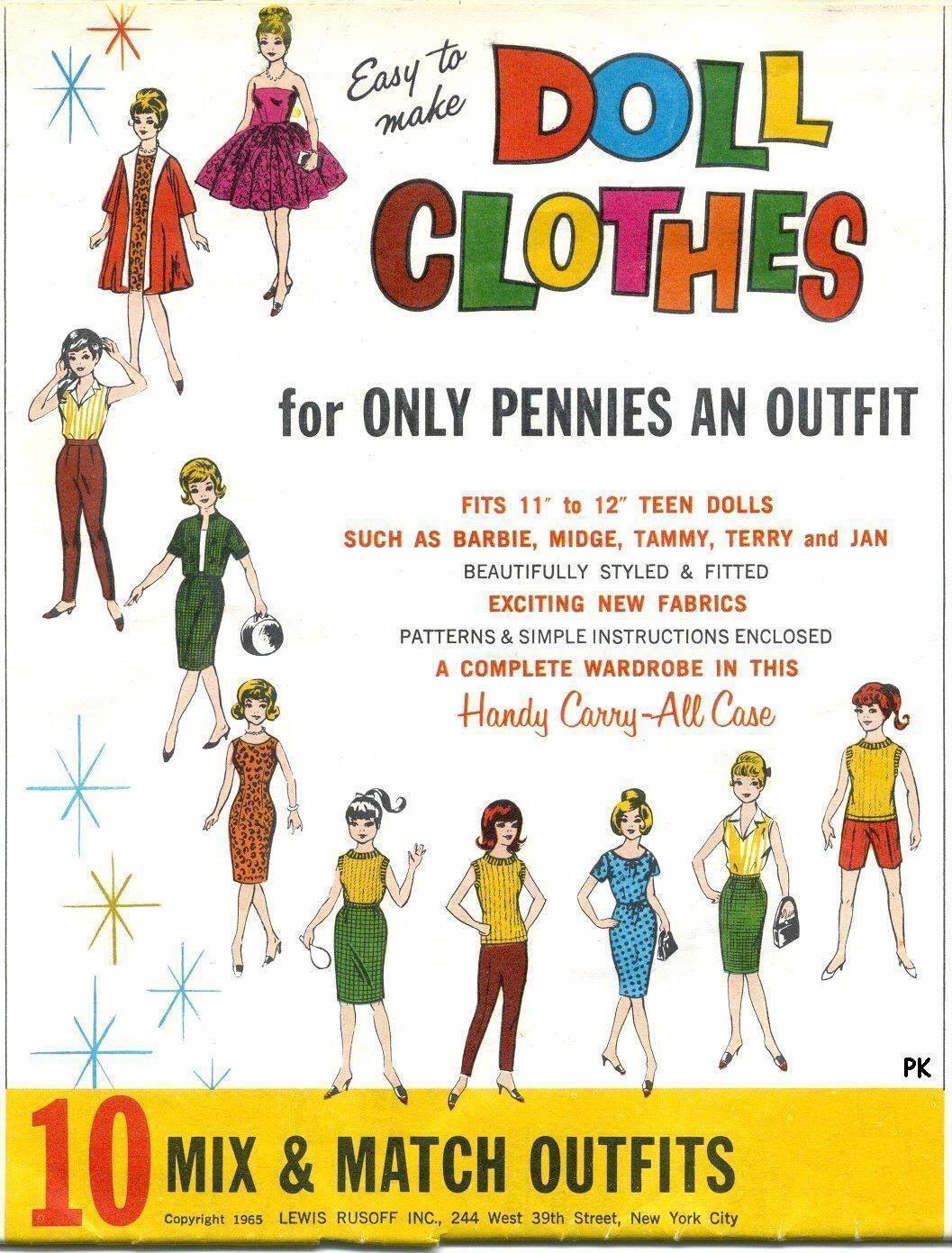Barbie Doll Vintage Patterns Mix /& Match Wardrobe