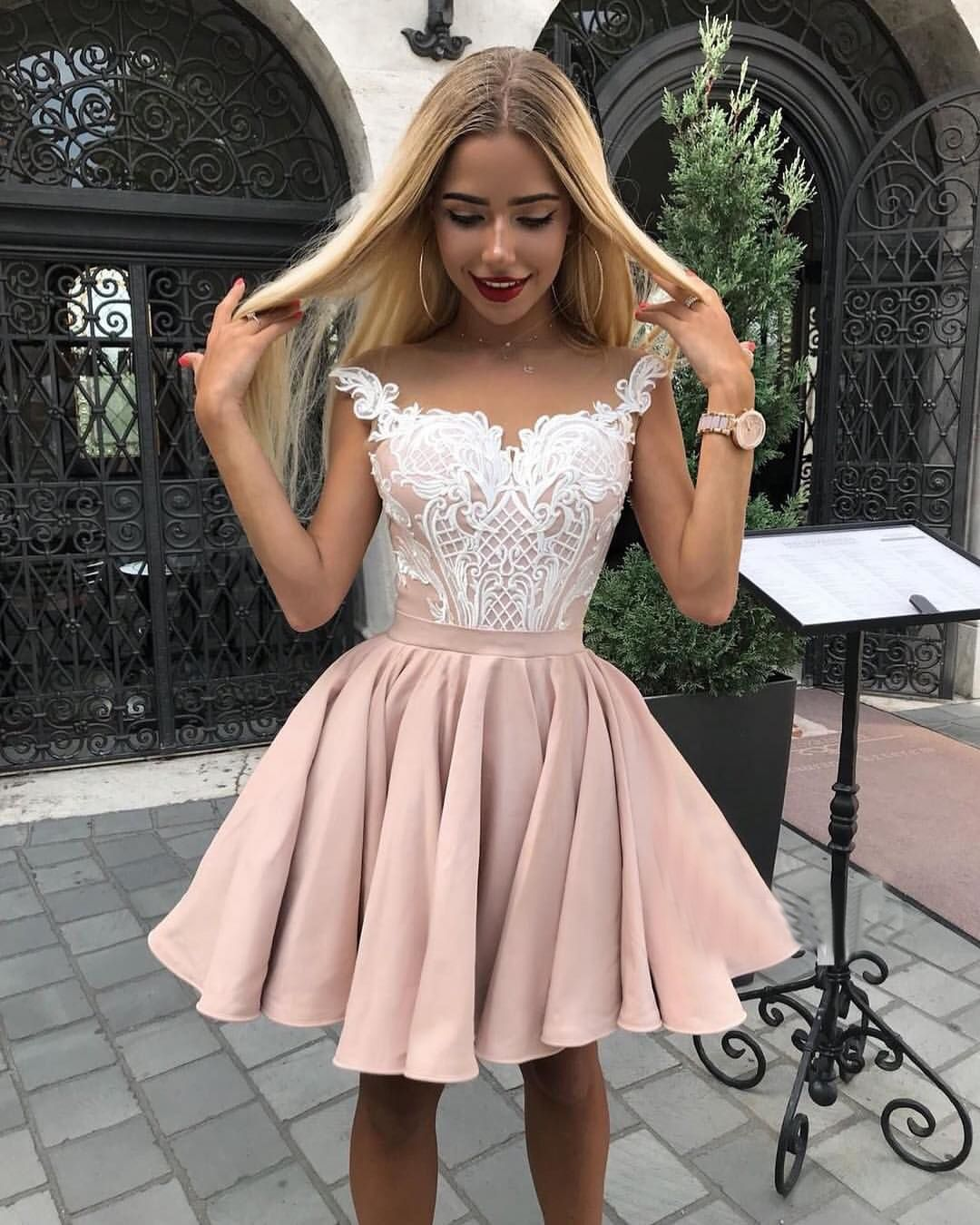 ba1dbbb394 A-Line Crew Cap Sleeves Above-Knee Pink Homecoming Dress with ...