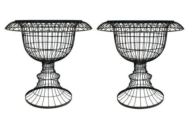 french iron wire urn planters  pair