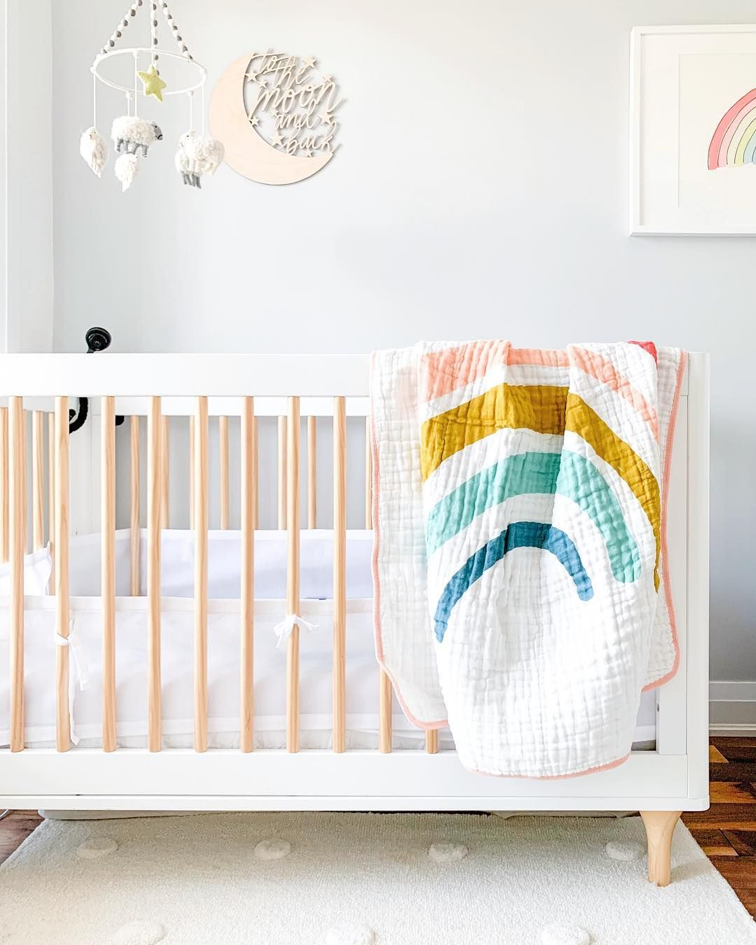 Rainbow Themed Room: Clean White Modern Nursery