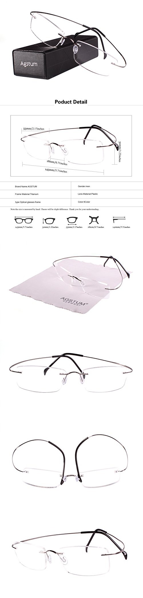 22b66bf3ef Agstum Pure Titanium Rimless Frame Prescription Hingeless Eyeglasses Rx  (Gun metal