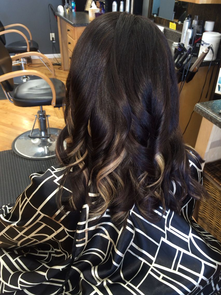 Hair Dark Chocolate Brown With Blonde Peekaboo Highlights