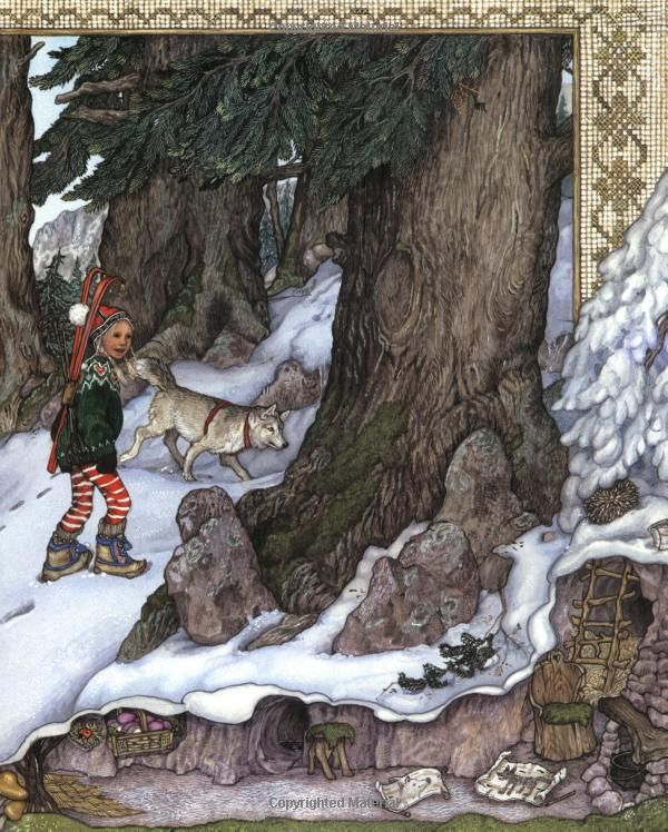 I Always Love How Jan Brett Has A Second Plot Take Place In The Borders This Is From Trouble With Tro Fairytale Art Illustration Childrens Books Illustrations
