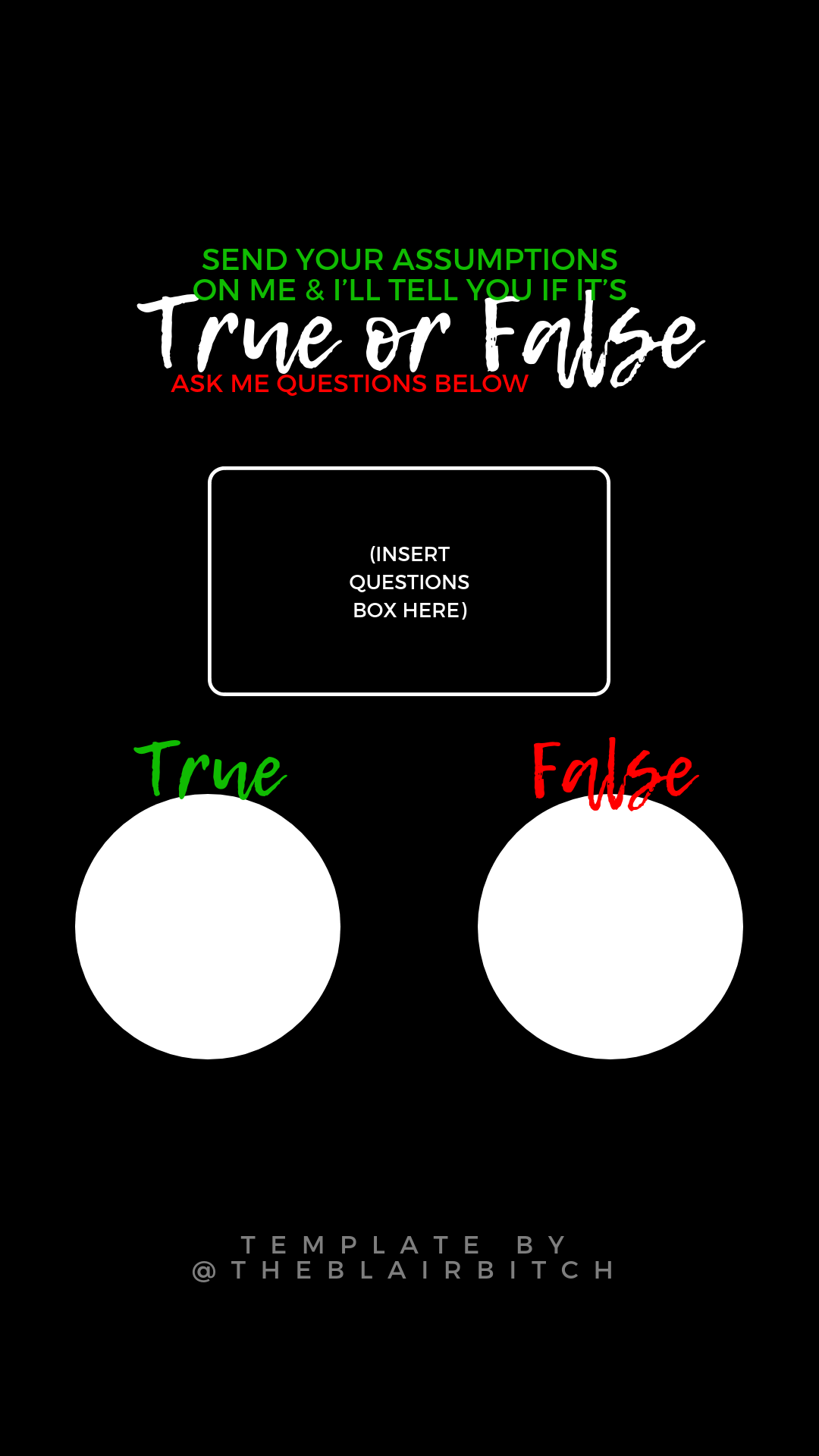 True False Test Template