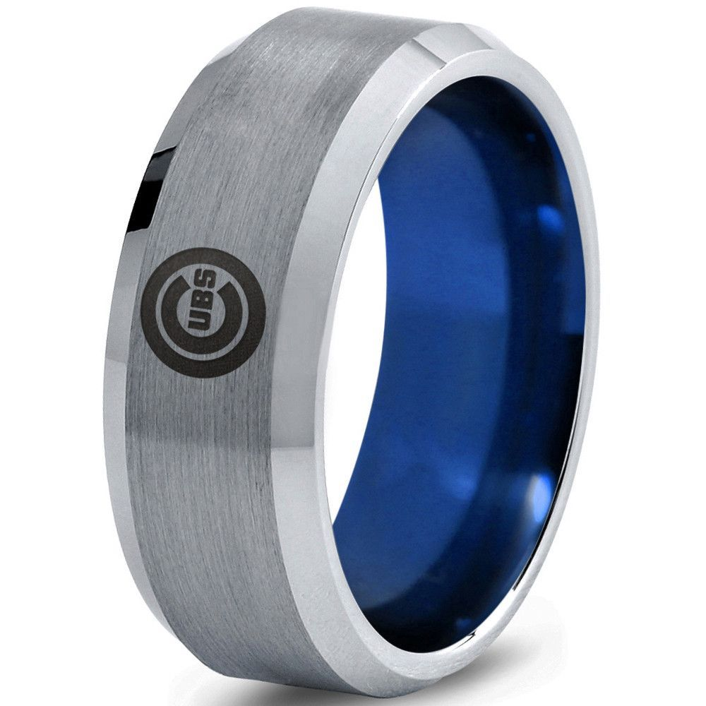 Chicago Cubs Silver Brushed Beveled Ring With Blue Interior Tungsten Wedding Bands Blue Tungsten Blue Tungsten Wedding Bands