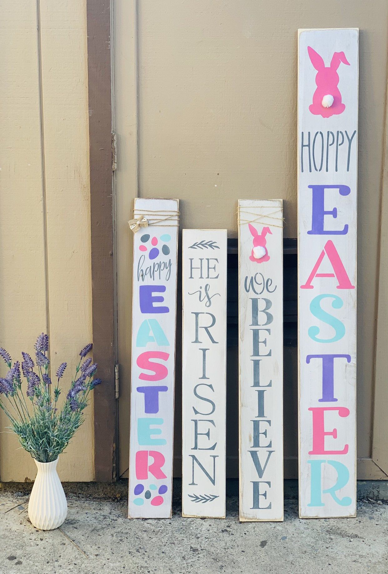 Large Easter Porch Sign Easter Bunny Stops Here Easter Porch Decor Easter Sign Happy Easter He Is Risen Hello Peeps Easter Porch Decor Easter Signs Easter Wood Signs