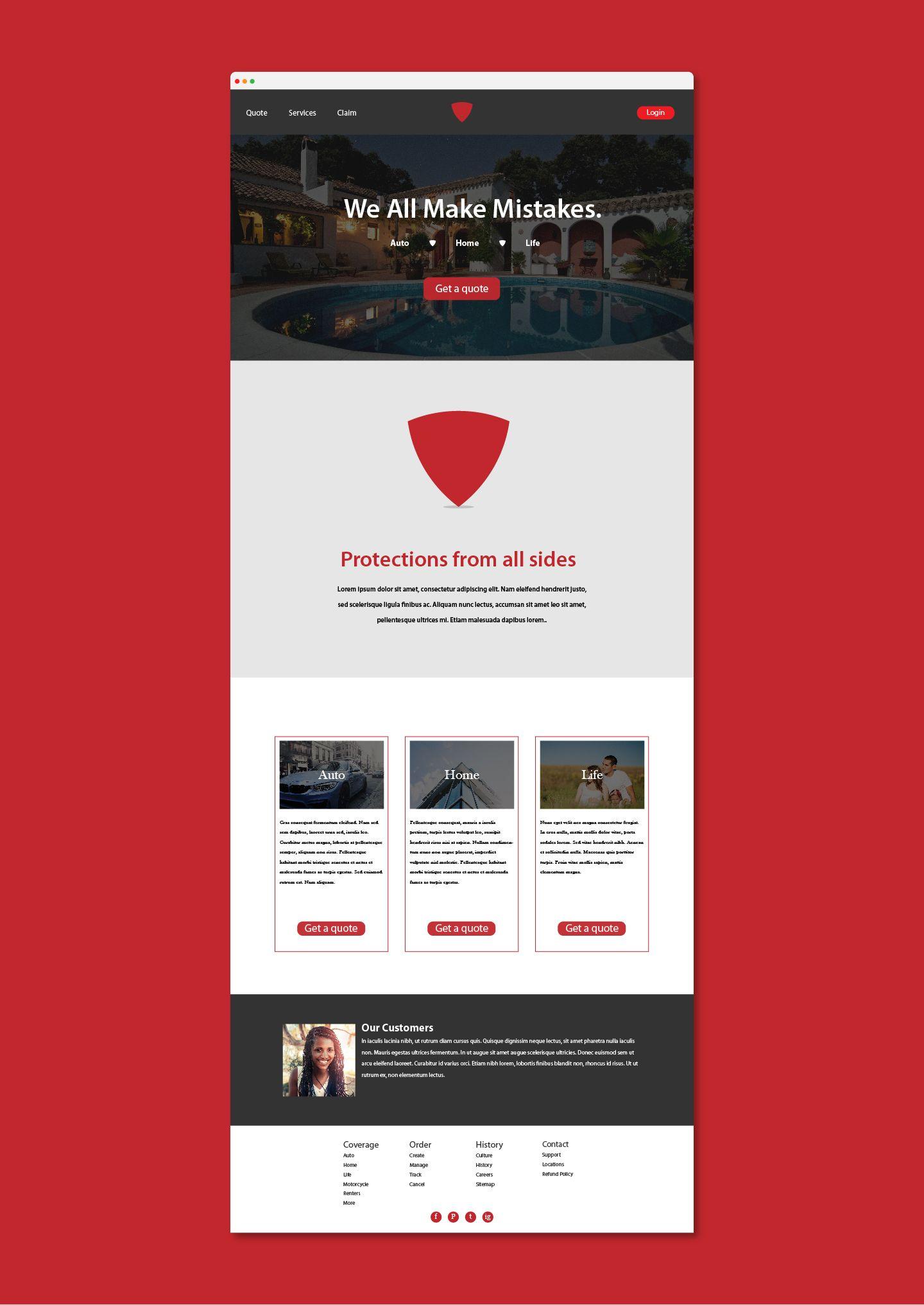 Red Shield Website Mockup Design Website Webdesign Red Shield Web Design Red