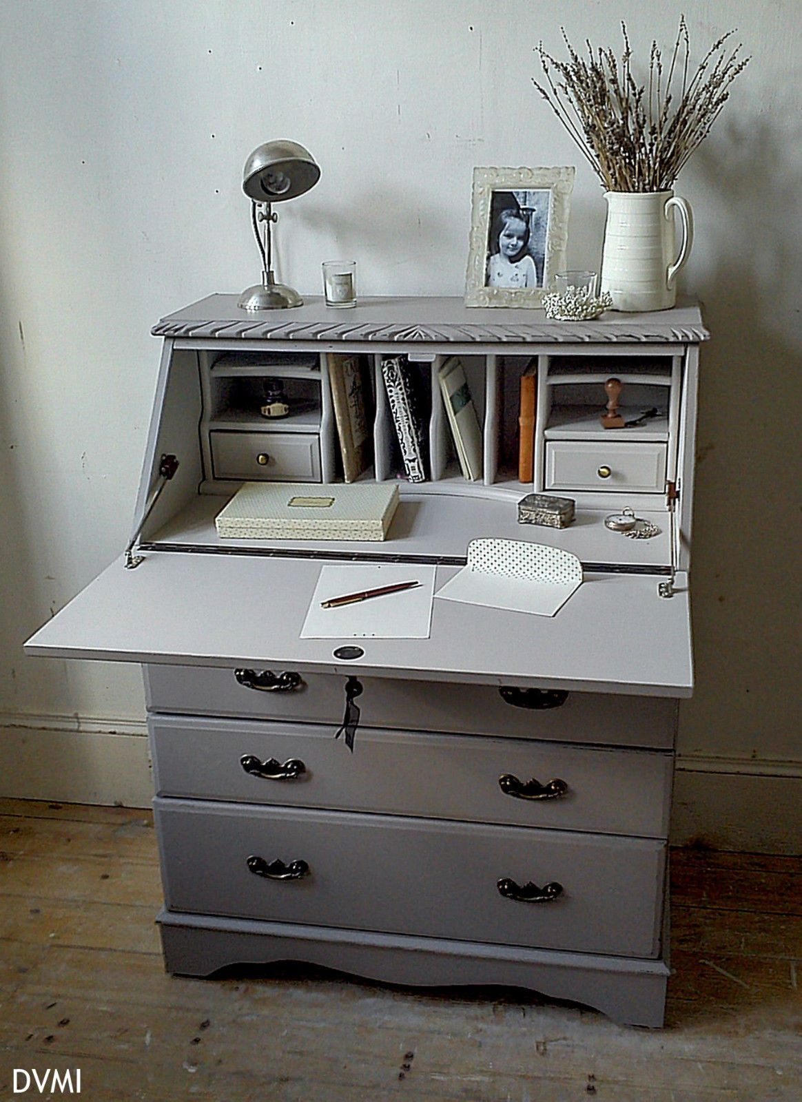 Lovely Painted Vintage Shabby Chic Bureau Desk Farrow Ball