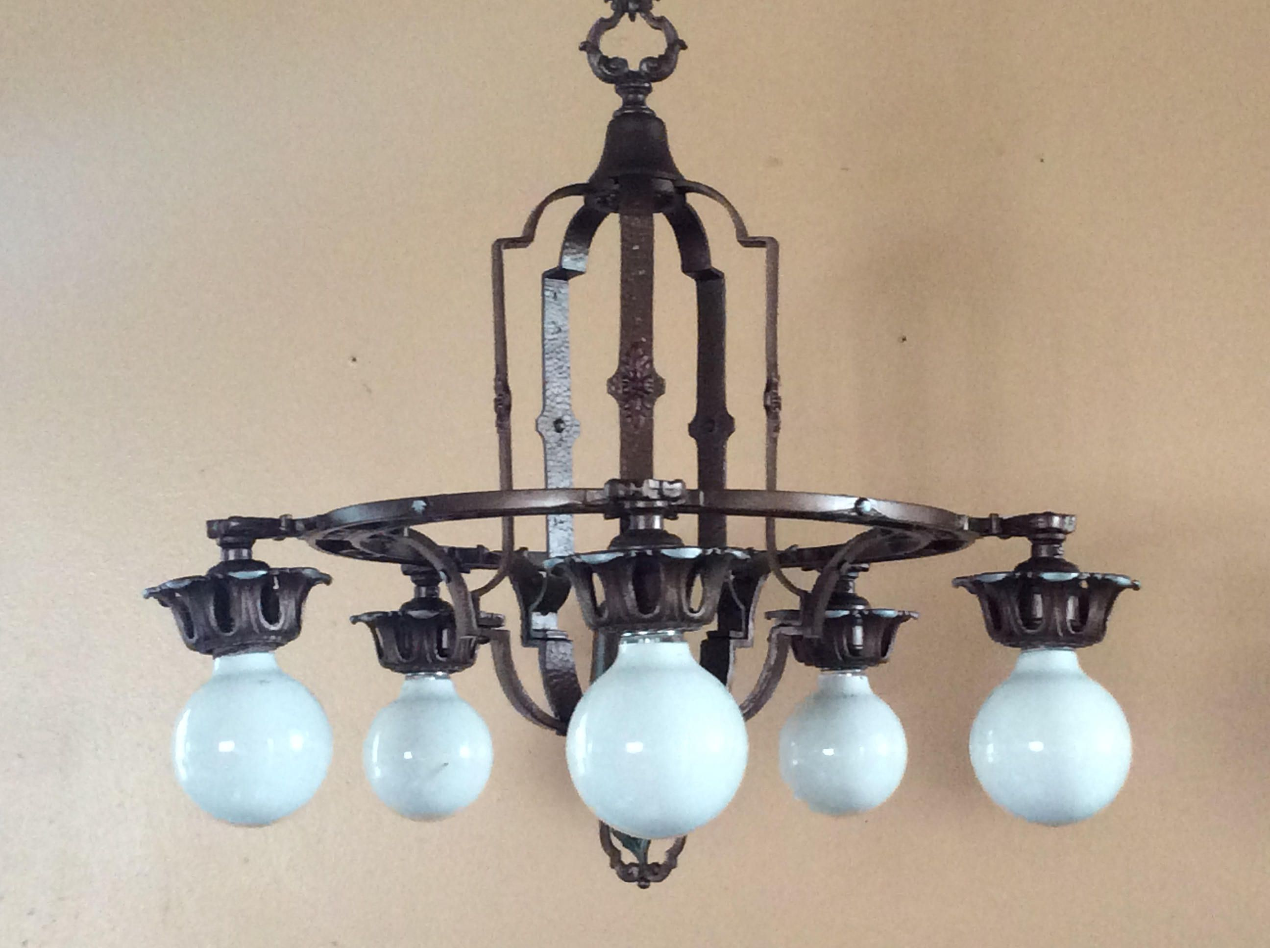 Antique art deco 5 light chandelier polychrome 1920s antique antique art deco 5 light chandelier polychrome 1920s arubaitofo Image collections